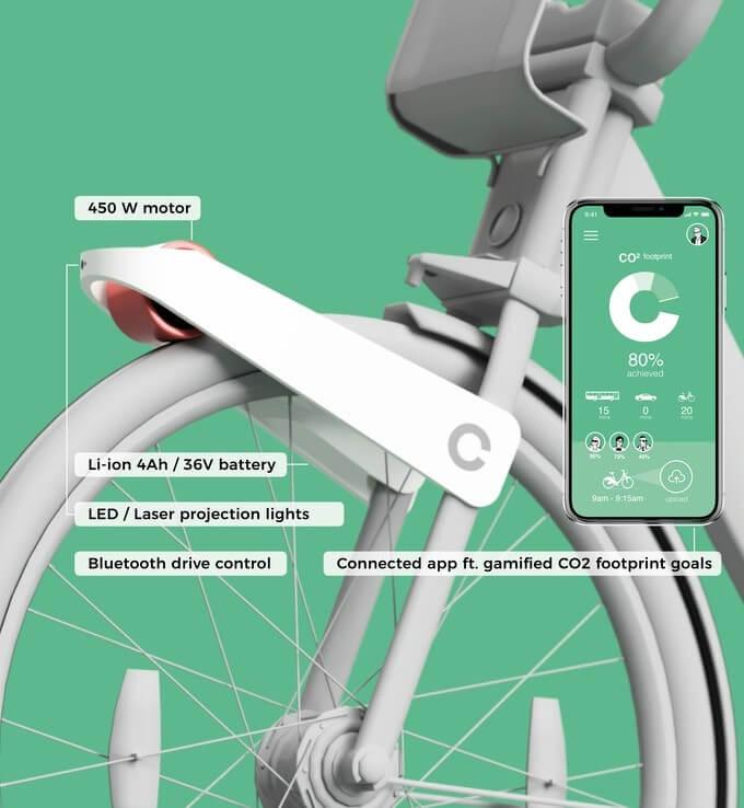 Pesando aproximadamente 3 kg, ele fixa-se à roda dianteira de forma a ser compatível com o maior número possível de bicicletas convencionais (Divulgação/Somnath Ray)