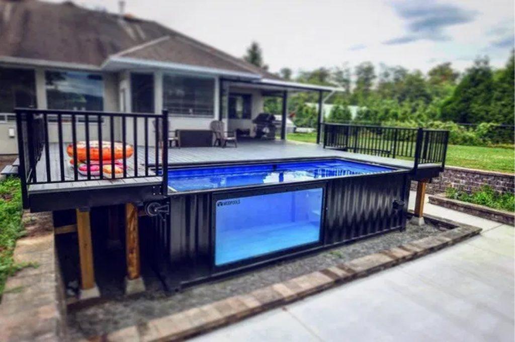 piscina container no quintal